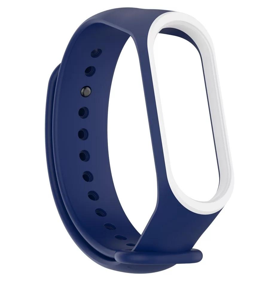 Силиконовый двухцветный тёмно-синий с белой полоской ремешок на фитнес трекер Xiaomi mi band 4 / 3 браслет