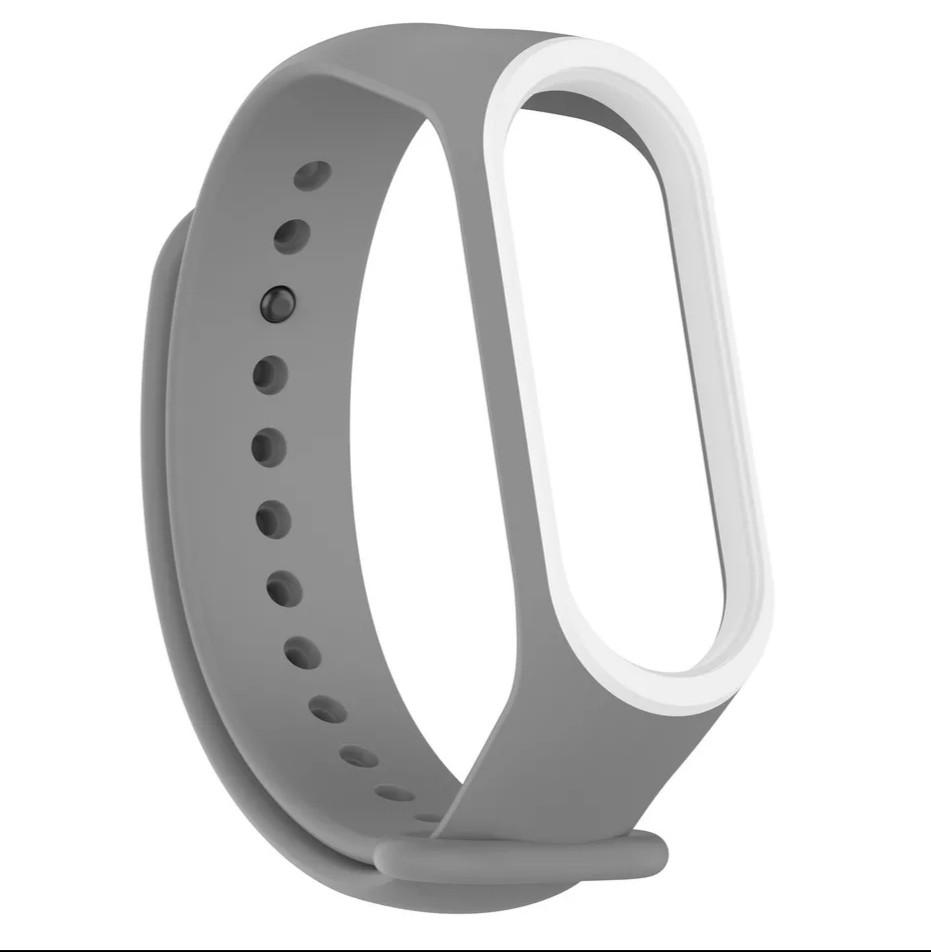 Силиконовый двухцветный серый с белой полоской ремешок на фитнес трекер Xiaomi mi band 4 / 3 браслет