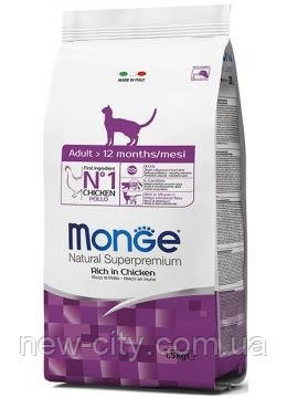 Monge Cat Adult Сухой корм с курицей и рисом для взрослых кошек 1,5 кг
