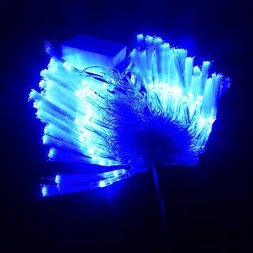 Гирлянда Нить Кисточка электрическая, 100 led, голубая, прозрачный провод, 6м.