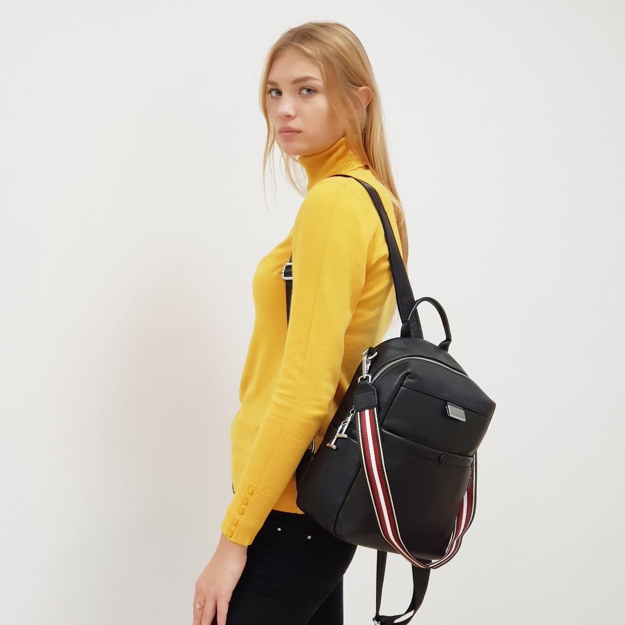 Рюкзак-сумка женский из натуральной кожи городской черный