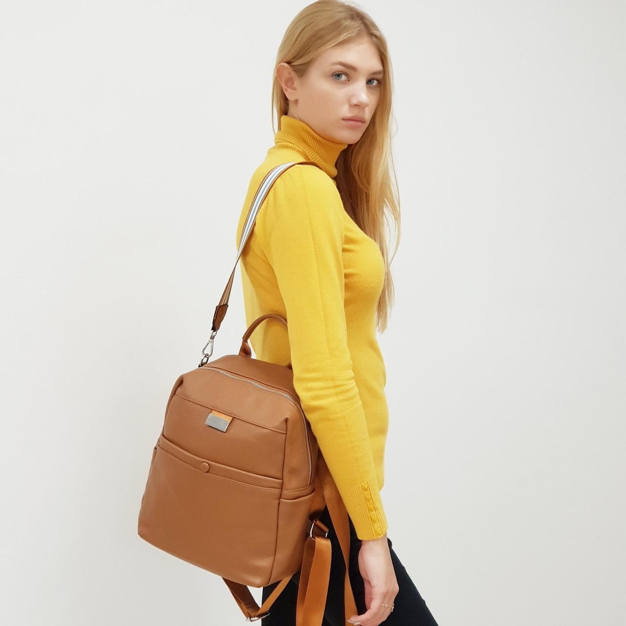 Рюкзак жіночий з натуральної шкіри міської коричневий