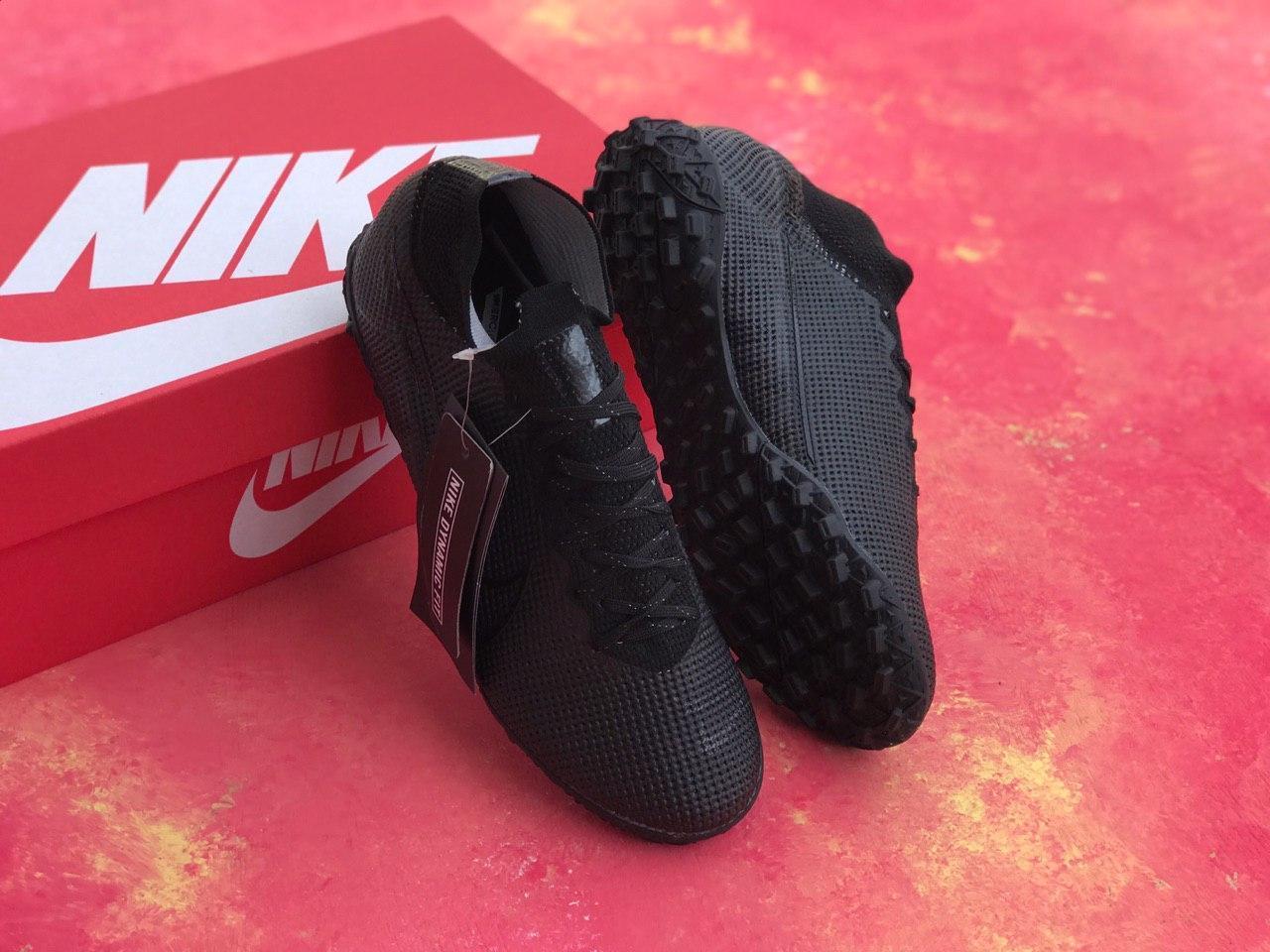 Сороконожки Nike Mercurial Vapor 13 Academy TF/футбольная обувь/найк меркуриал вапор черные