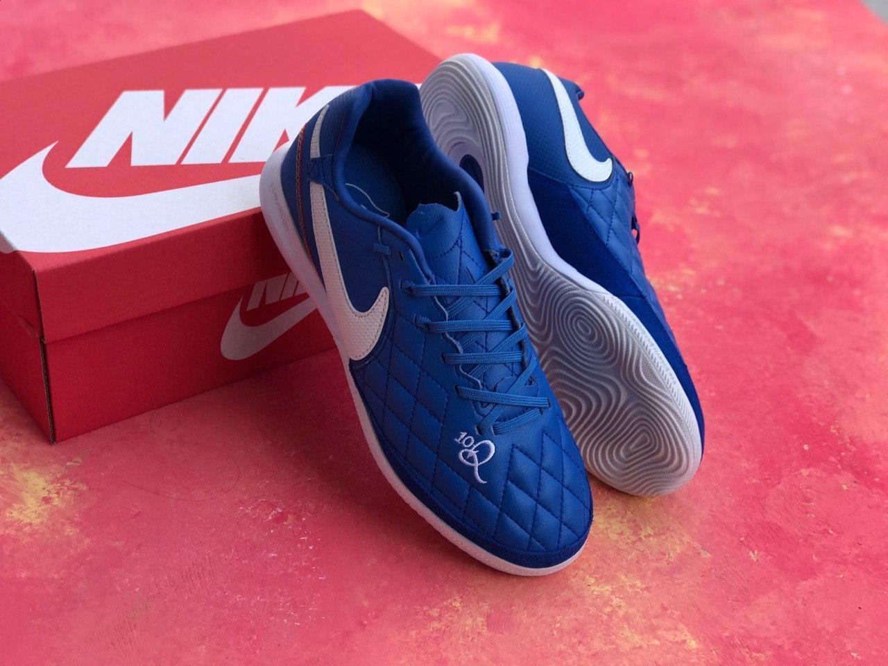 Футзалки Nike Tiempo Lunar Legend VII 10R IC  / бампы найк темпо/футбольная обувь синие