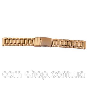 Браслет, ремешок для наручных часов на клипсе 2318/1 зол. 2-й замок, 18мм золотой