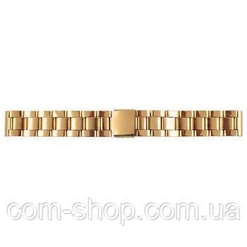 Браслет, ремешок стальной для наручных часов 2318/4 зол. 2-й замок, 18мм золотой