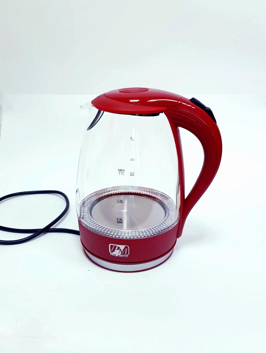 Электрический чайник Promotech на 1.7 литра PM-810 дисковый стеклянный  красный