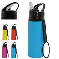 "Бутылка - поилка спортивная Stenson ""Reed"" 500мл, оранжевая, силиконовая, бутылки, бутылки для воды, поилка для воды, поилка"