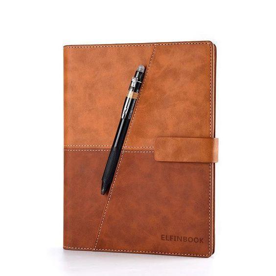 Смарт-блокнот Elfinbook X многоразовый умный блокнот в кожаной обложке. Коричневый