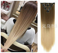 Волосы трессы ТЕРМО на заколках 7 прядей 60см №8т25 омбре вех русый верх пшеничный светло-русый низ