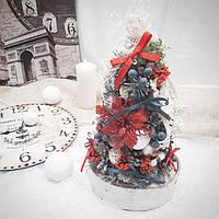 Рождественская новогодняя декоративная елочка на стол в красных и синих тонах