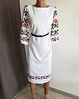 """Платье белое с цветочным принтом на рукавах и вставками """"под вышивку"""""""