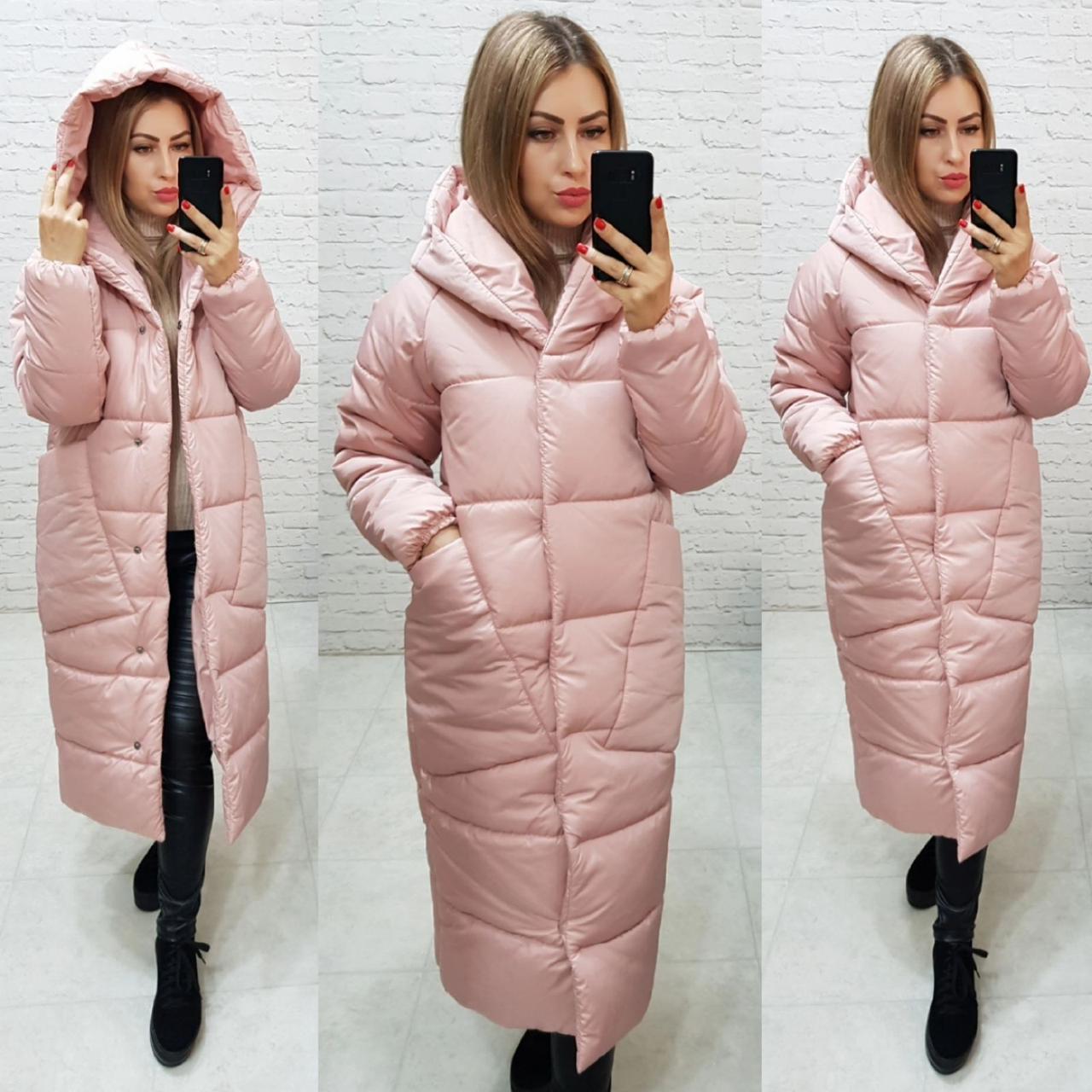 Пальто курка кокон Oversize зимова, артикул 500, колір пудровий