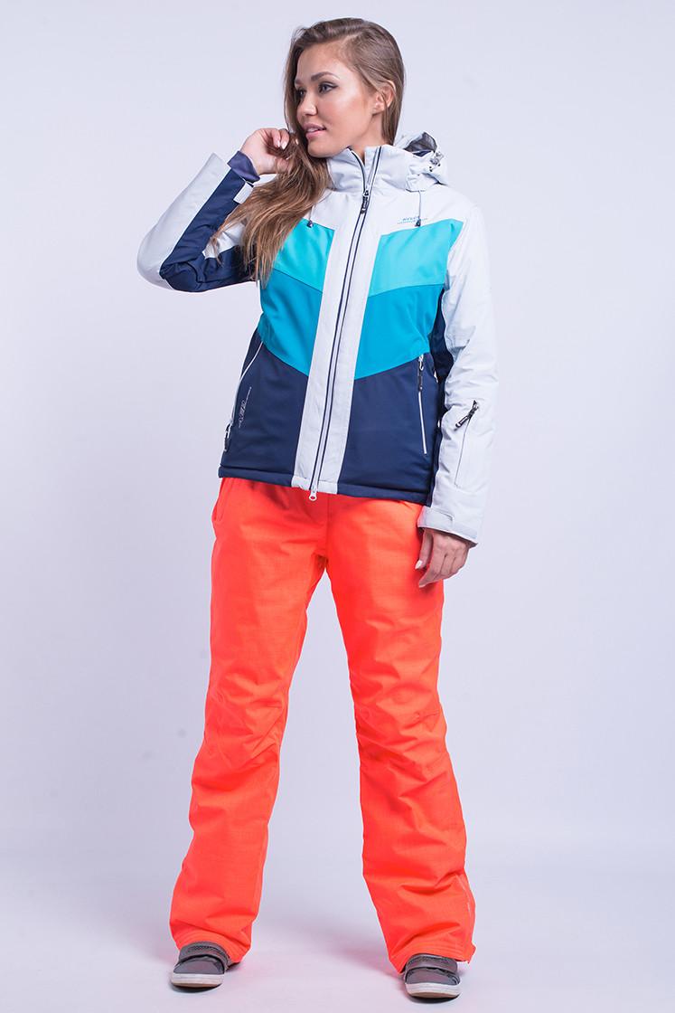 Горнолыжная куртка женская Avecs 8689 голубой с бирюзой