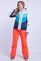 Горнолыжная куртка женская распродажа AV-8689 голубой с бирюзой 50 (2XL)