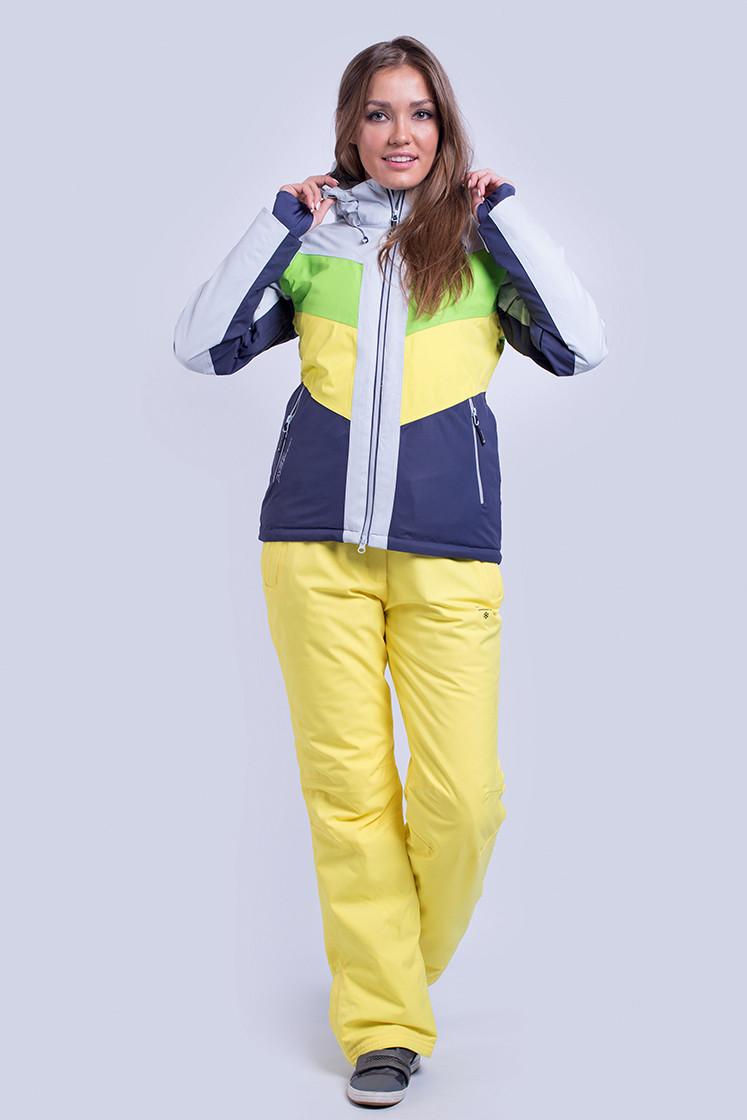 Горнолыжная куртка женская распродажа  AV-8689   зеленый с желтым