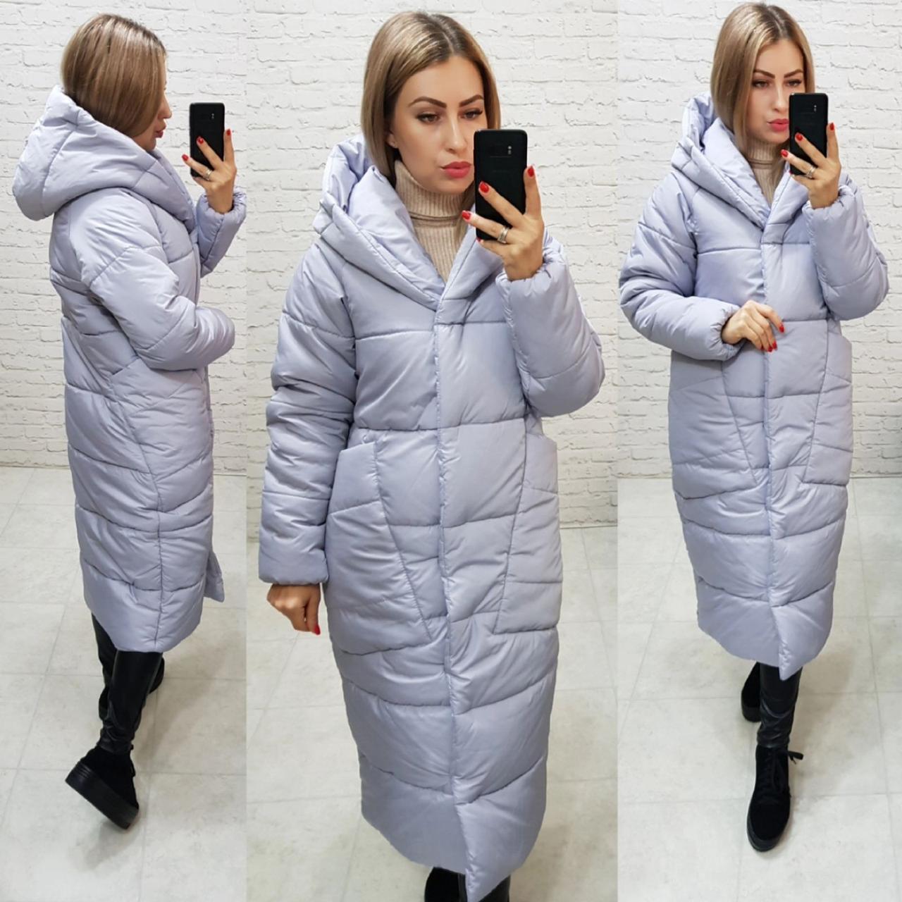 Куртка пуховик Oversize зимова, артикул 500, колір світлий сірий