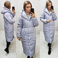 Куртка пуховик Oversize зимова, артикул 500, колір світлий сірий, фото 1