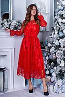 Коктейльное платье миди / сетка, атлас / Украина 36-5088, фото 1