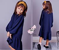Красивое трикотажное ассиметричное платье для девочки. Цвета!