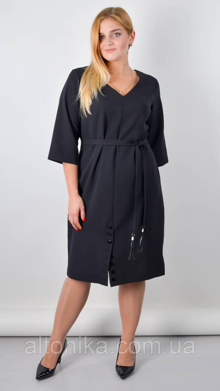 Оксана. Базовое платье большого размера. Черный. 50- 52, 54-56