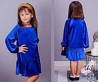Бархатное однотонное платье туника для девочки. Цвета!