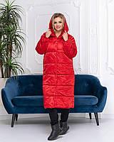 Пальто-пуховик ковдру зима OVERSIZE з капюшоном арт. 521 червоний, фото 1