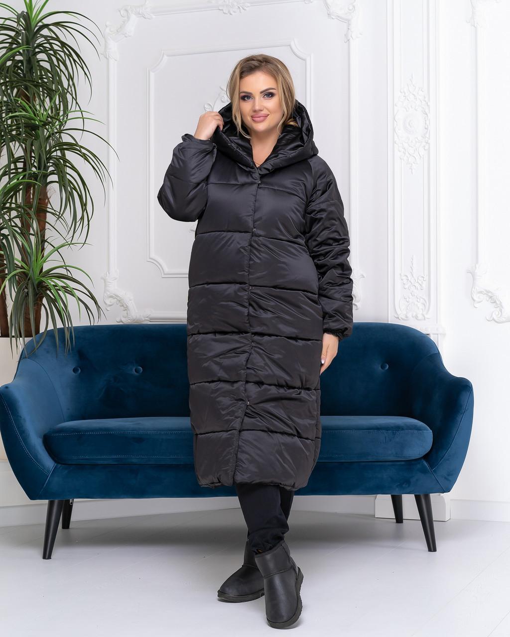 Пальто куртка зима OVERSIZE с капюшоном арт. 521 чёрный