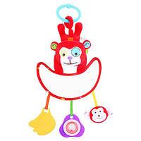 Підвіска на коляску WLTH8167J-2 мавпочка, брязкальце, прорізувач, пискавка, дзеркало, плюш, кул., 18