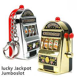 Брелок в виде игрового автомата,Подвижная ручка вращает барабан, игровые автоматы лото,однорукий бандит