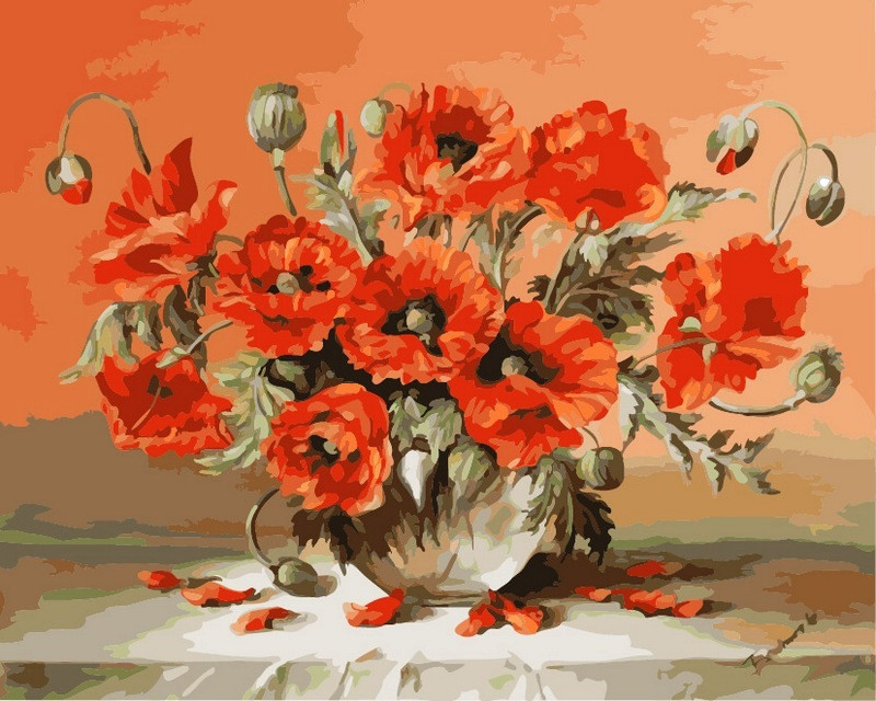 Картина по номерам 40×50 см. Babylon Маки в вазе Художник - Julien Stappers. (VP-293)