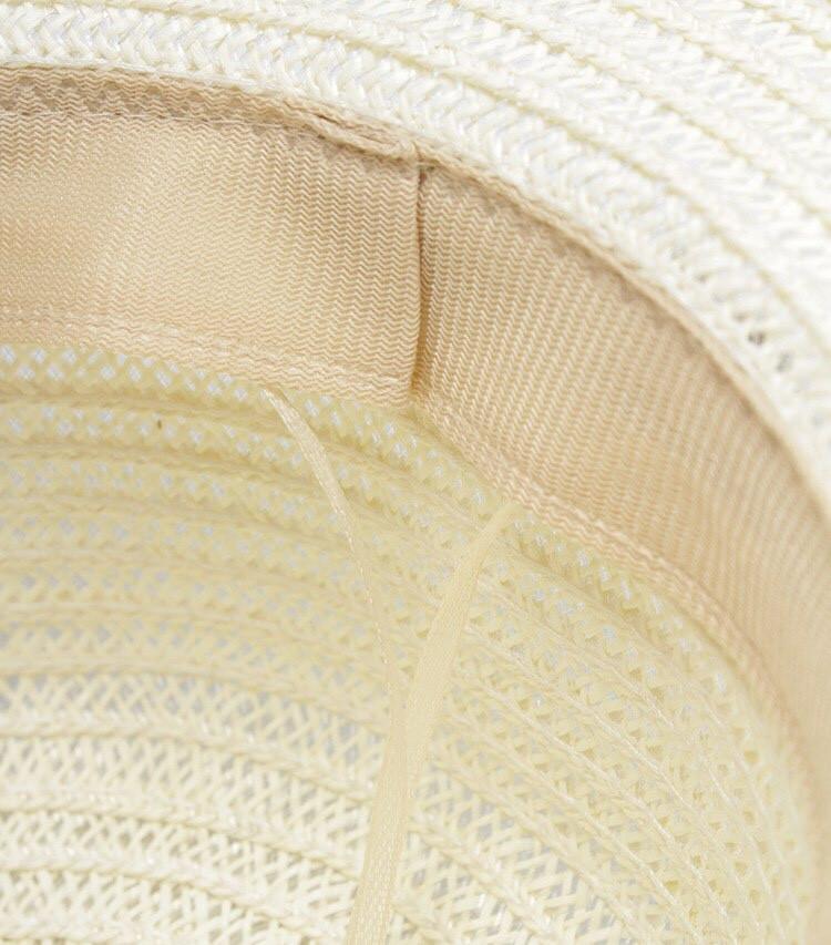 Соломенная шляпа- канотье белого цвета с ремешком в цветочек, фото 4