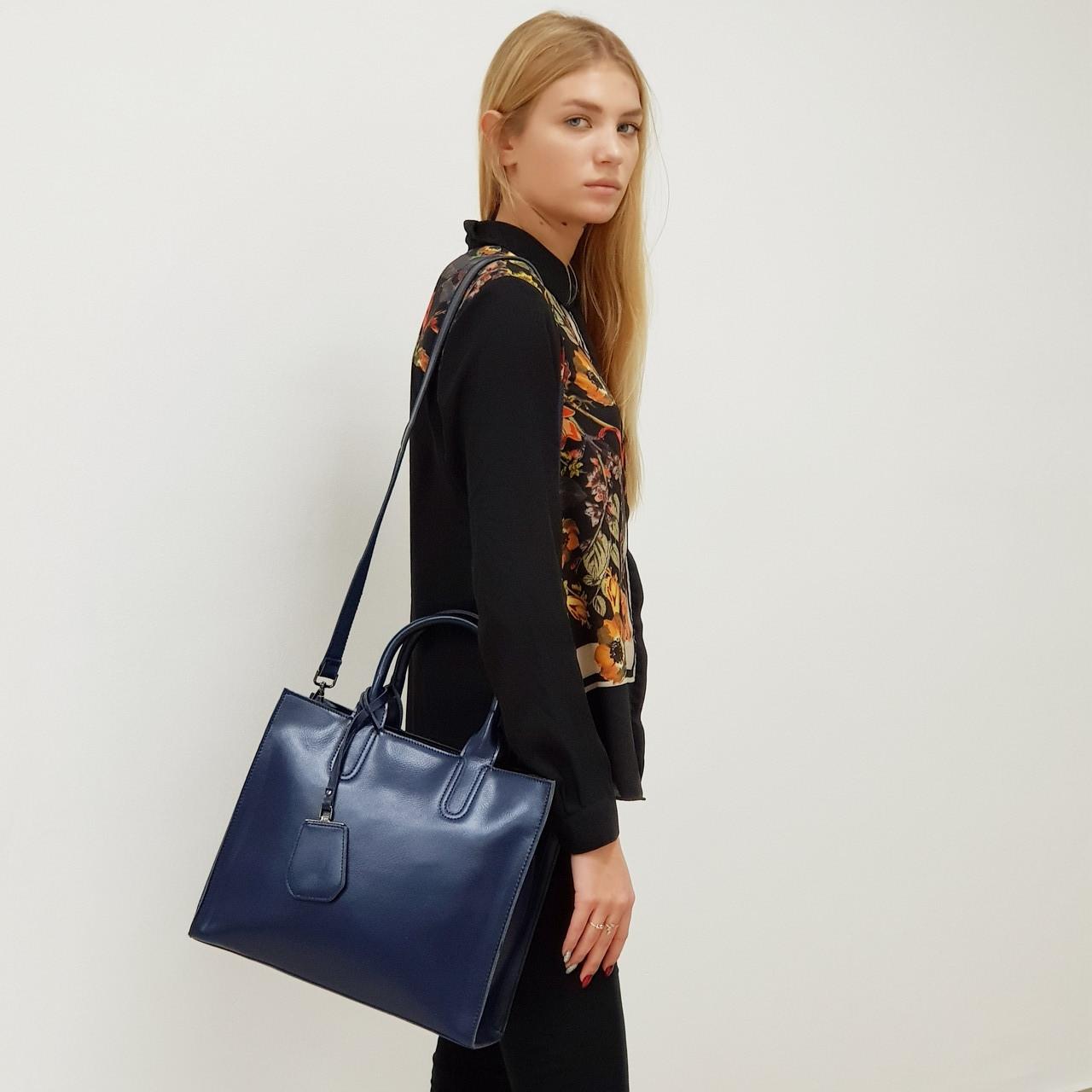Женская синяя сумочка из натуральной кожи большая повседневная