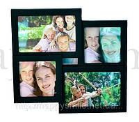 Семейная рамка для 4 фотографий, черная / подарок папе, фото 1