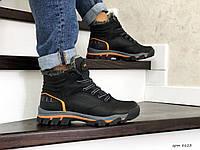 Мужские зимние ботинки на меху в стиле Merrell, натуральная кожа, черные с оранжевым 41 (26,5 см)