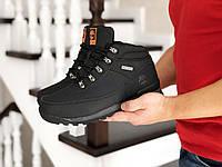 Мужские зимние ботинки на меху в стиле Timberland, кожа, пена, черные с оранжевым 42 (27 см)