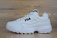 Женские зимние кроссовки на меху в стиле FILA disruptor 2, кожа, белые 36 (23 см)
