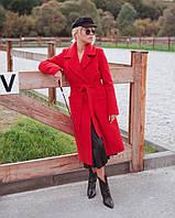 Женское зимнее пальто на запах с поясом миди длина. Цвета в ассортименте
