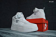 Мужские зимние кроссовки на меху в стиле Nike Air Force 1 LV8 High, натуральная кожа, полиуретан, белые 44 (28 см)