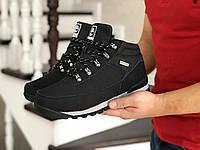 Мужские зимние ботинки на меху в стиле Timberland, кожа, пена, черные с серым 41 (26,5 см)