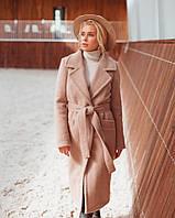 Модное женское зимнее пальто на запах с поясом миди длина