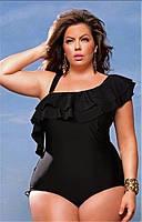 Женский купальник слитный больших размеров с рюшами черный