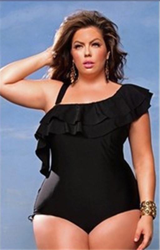 Женский купальник слитный больших размеров черный с рюшами опт
