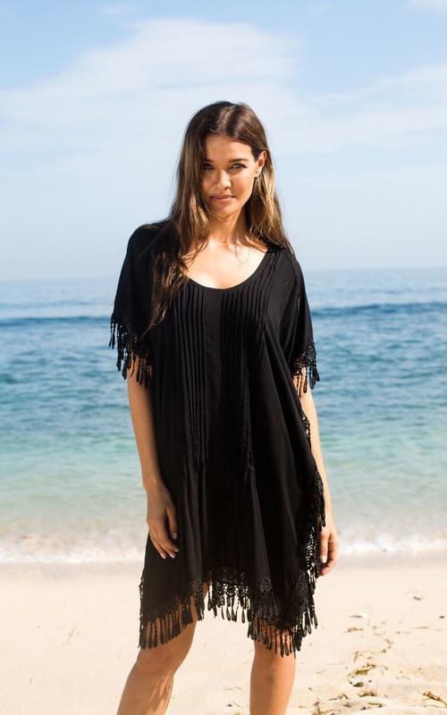 Туника-платье пляжное черное с бахромой