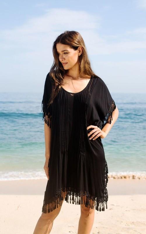 Туника-платье пляжное черное с бахромой, фото 2