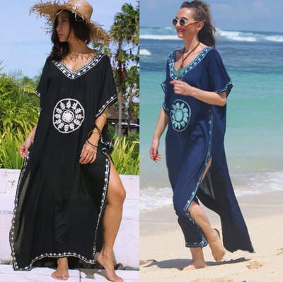 Длинная пляжная туника-платье синего цвета с вышивкой, фото 4