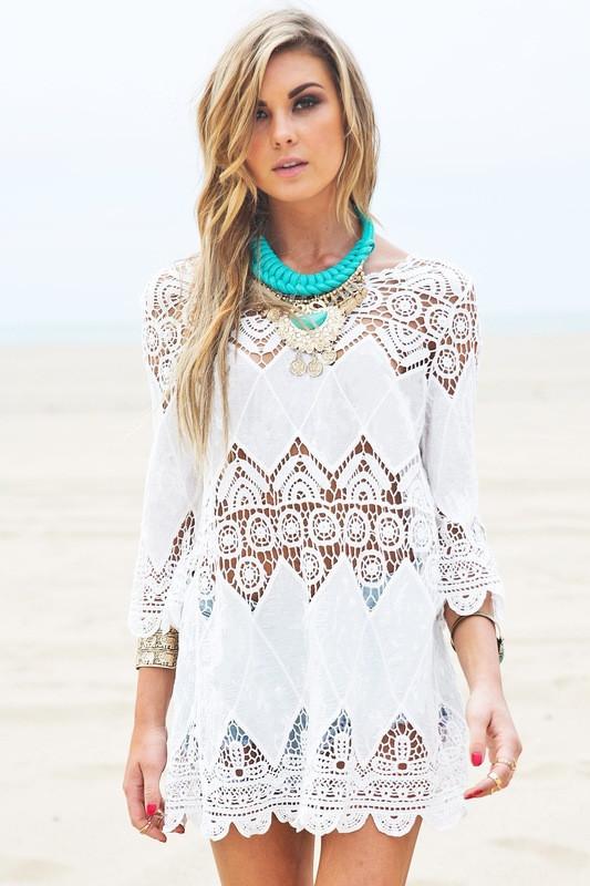 Пляжное платье-туника, кружевное, бохо стиль, белое