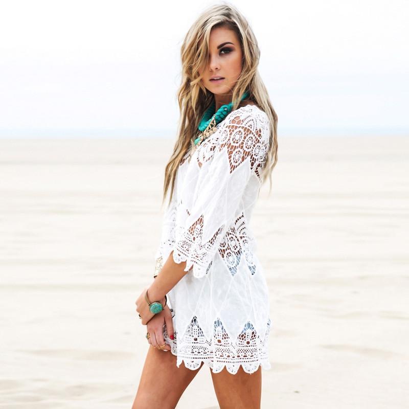 Пляжное платье-туника, кружевное, бохо стиль, белое, фото 3