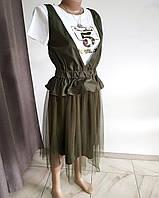 Платье накидка зеленое хаки с сеткой внизу