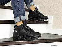 Мужские зимние кроссовки на меху в стиле Nike 95, кожа, пена, черные 41 (26,6 см)